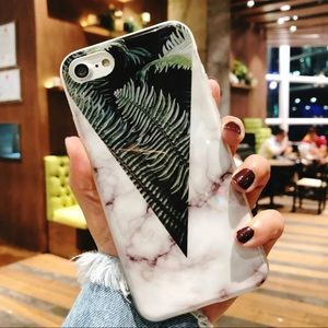 WHITE MARBLE / TROPICAL LEAF IPHONE 7 8 PLUS CASE